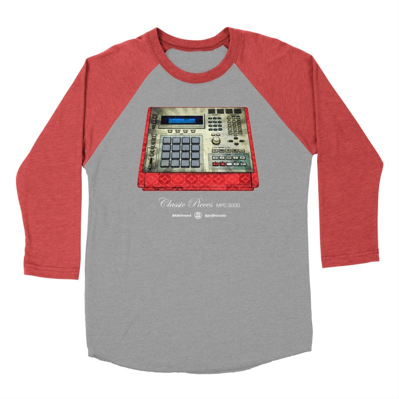 Classic Pieces MPC 3000 in Women's Baseball Triblend Longsleeve T-Shirt Chili Red Sleeves by Ankh, Shield & Circle