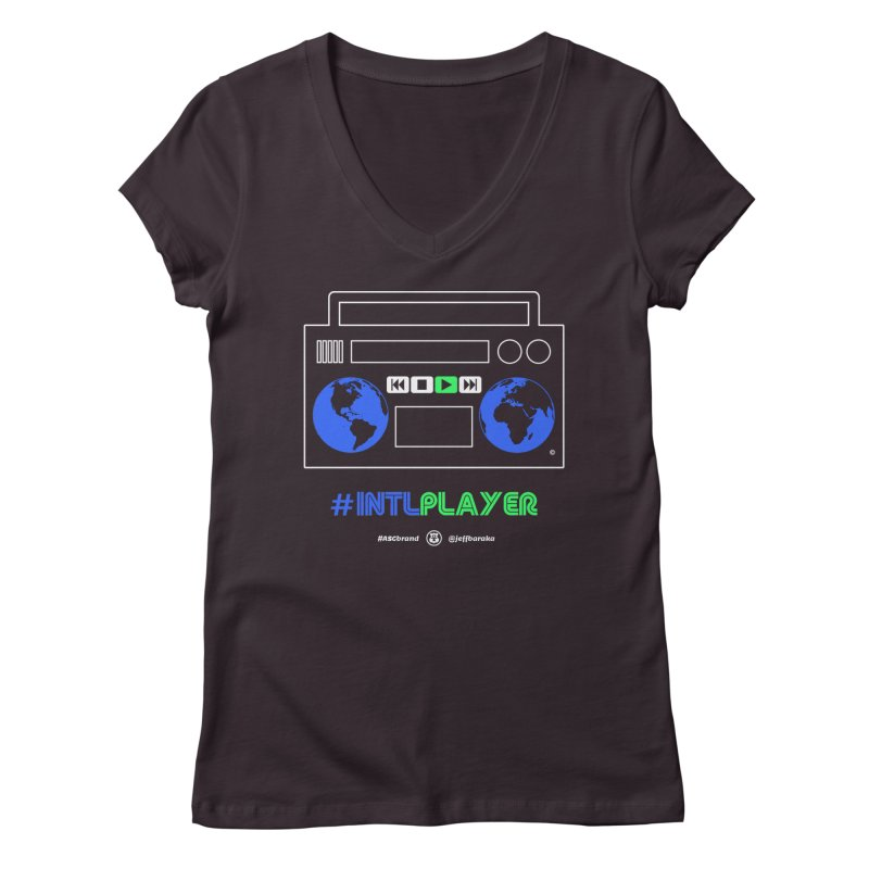 INTLPLAYER Boombox Women's Regular V-Neck by Ankh, Shield & Circle