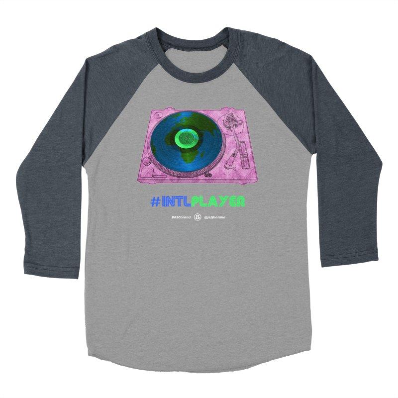 INTLPLAYER A-side Men's Baseball Triblend Longsleeve T-Shirt by Ankh, Shield & Circle