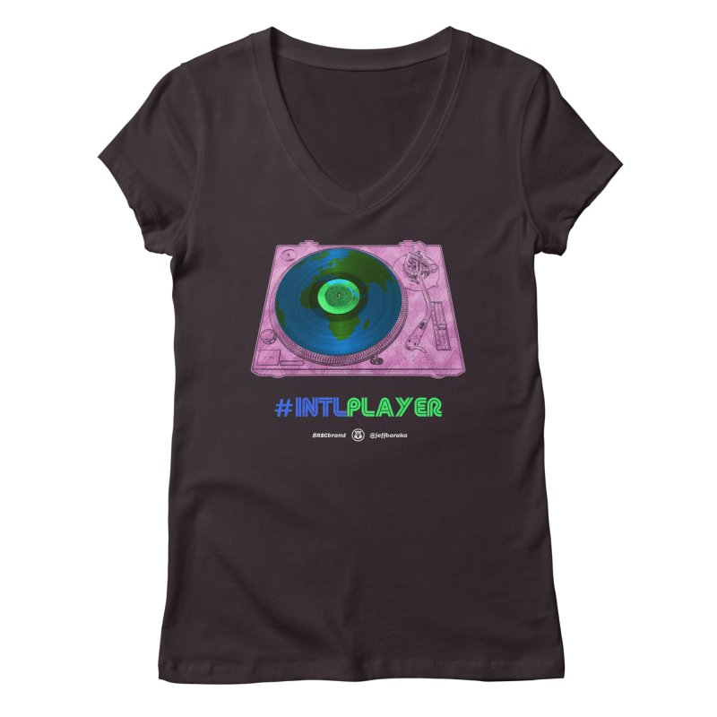 INTLPLAYER A-side Women's Regular V-Neck by Ankh, Shield & Circle
