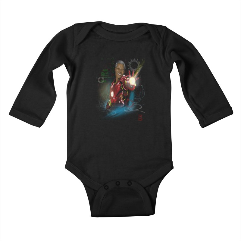 Iron Mandela Kids Baby Longsleeve Bodysuit by jeffcarpenter's Artist Shop