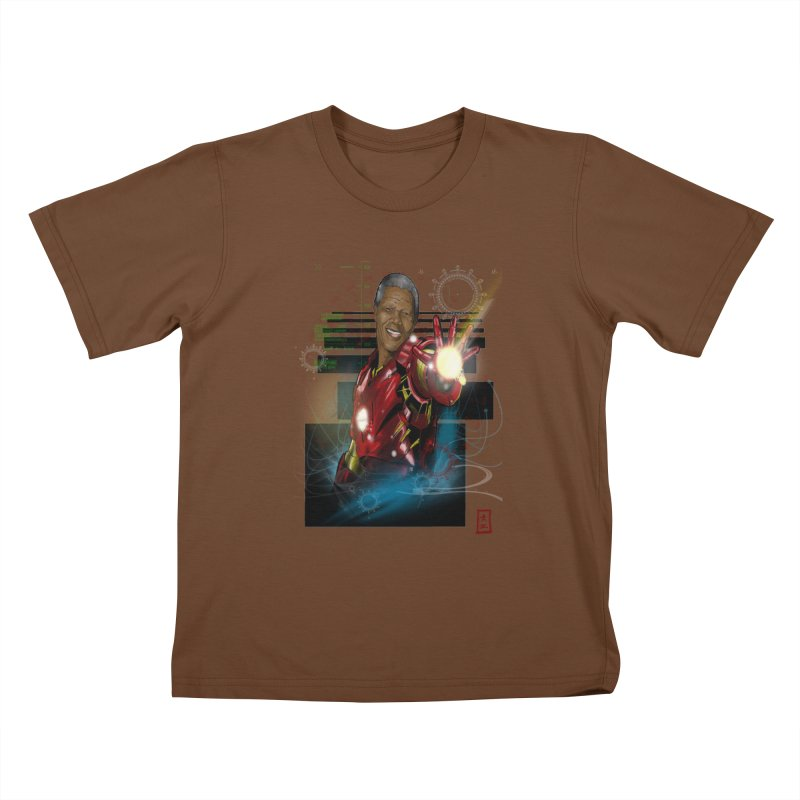Iron Mandela Kids T-Shirt by jeffcarpenter's Artist Shop