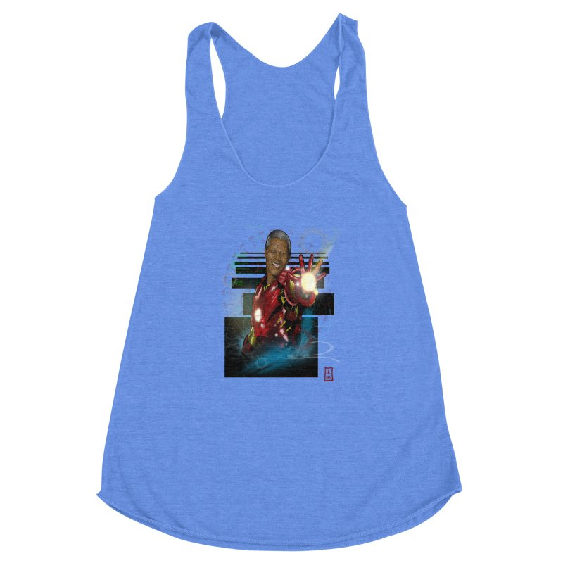 Iron Mandela Women's Racerback Triblend Tank by jeffcarpenter's Artist Shop