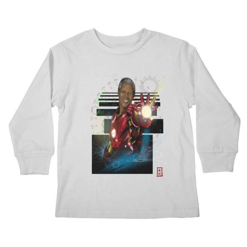 Iron Mandela Kids Longsleeve T-Shirt by jeffcarpenter's Artist Shop