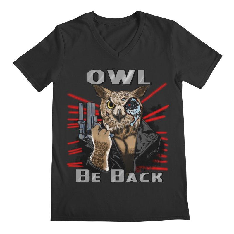 Owl Be Back Men's V-Neck by jeffcarpenter's Artist Shop