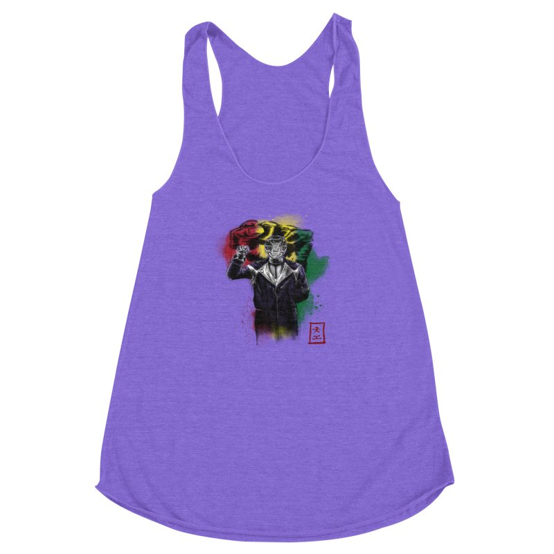Black Power Ranger Women's Racerback Triblend Tank by jeffcarpenter's Artist Shop