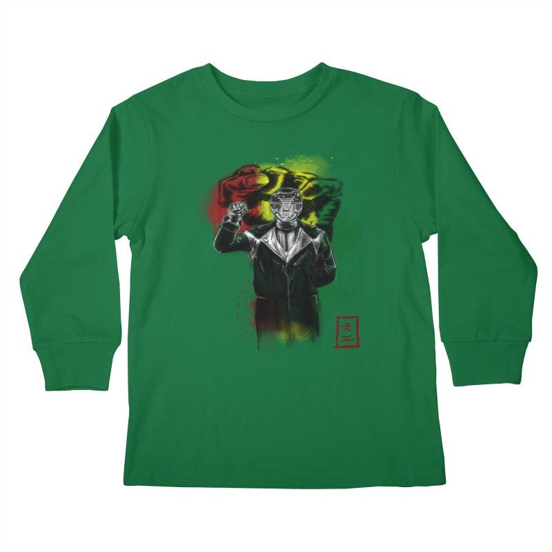 Black Power Ranger Kids Longsleeve T-Shirt by jeffcarpenter's Artist Shop