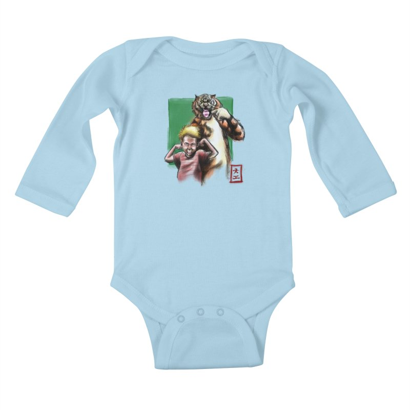 A boy and his tiger Kids Baby Longsleeve Bodysuit by jeffcarpenter's Artist Shop