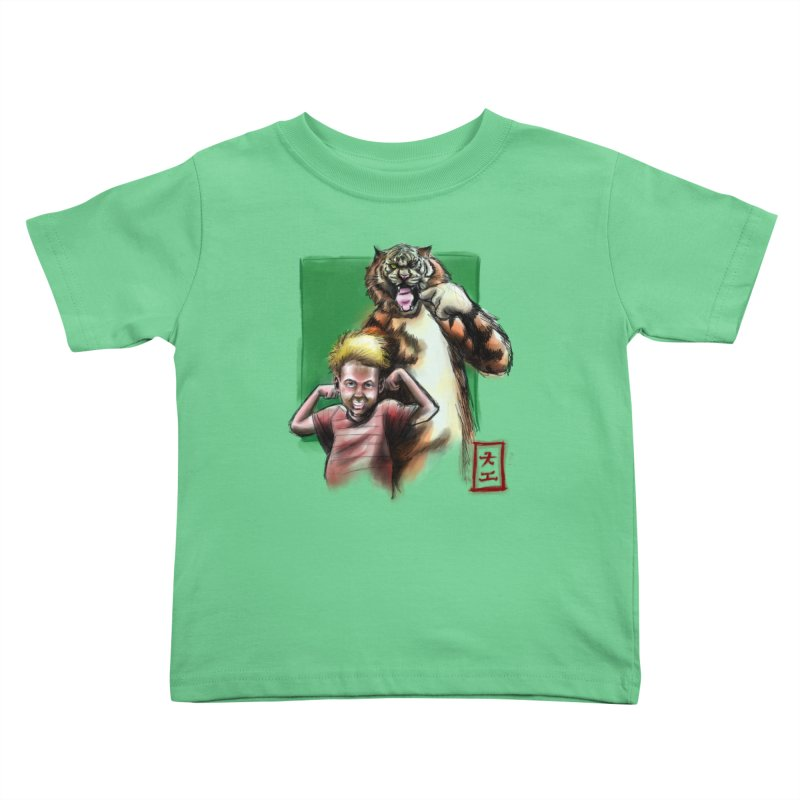 A boy and his tiger Kids Toddler T-Shirt by jeffcarpenter's Artist Shop