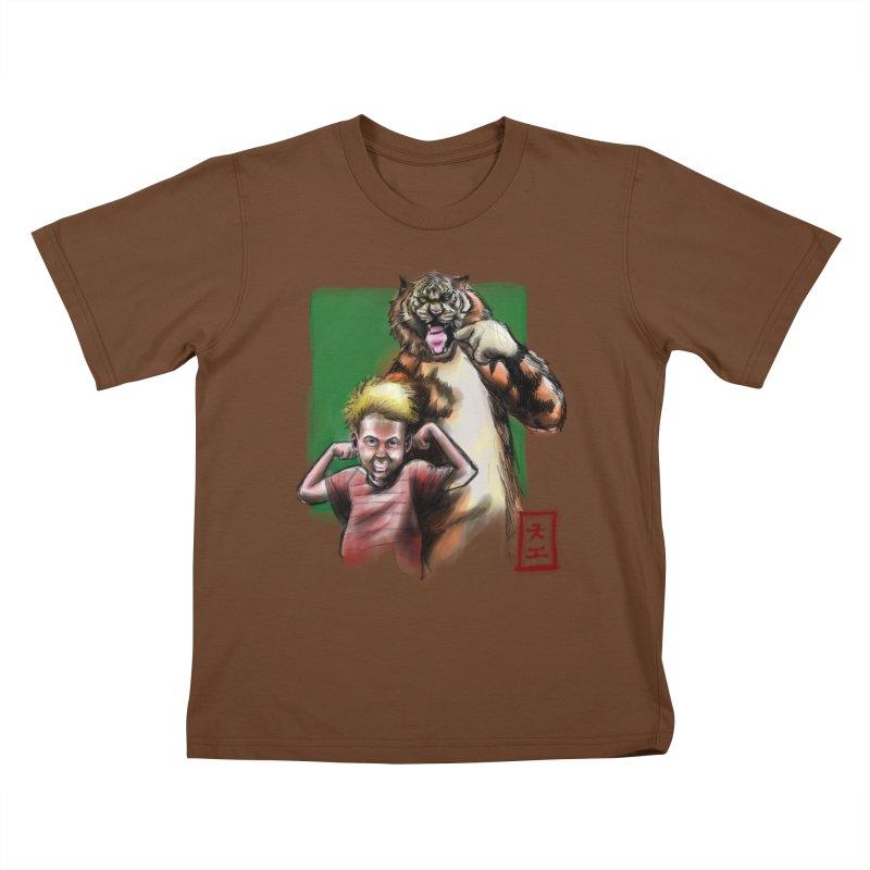 A boy and his tiger Kids T-shirt by jeffcarpenter's Artist Shop