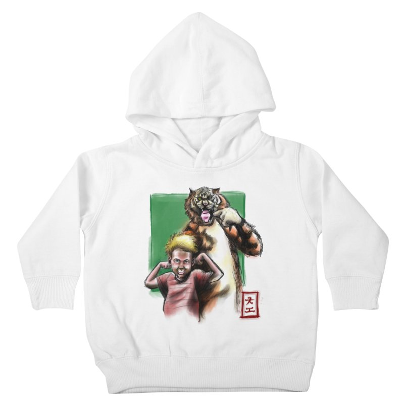 A boy and his tiger Kids Toddler Pullover Hoody by jeffcarpenter's Artist Shop