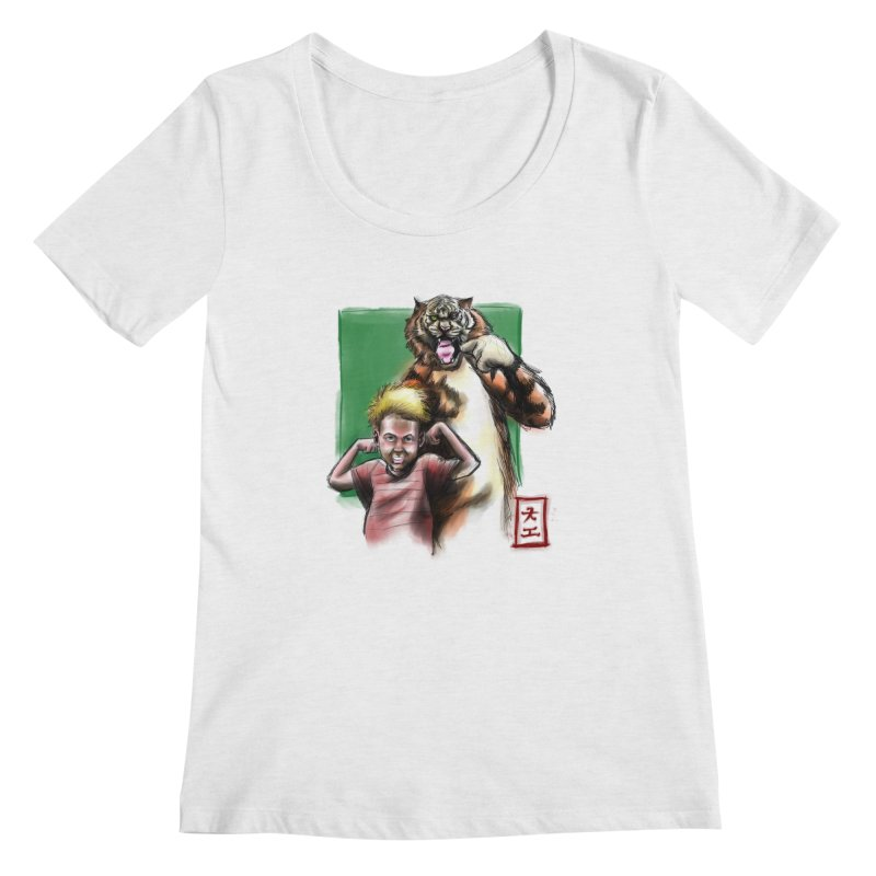 A boy and his tiger Women's Scoopneck by jeffcarpenter's Artist Shop