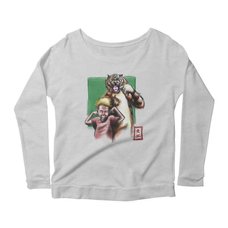 A boy and his tiger Women's Longsleeve Scoopneck  by jeffcarpenter's Artist Shop