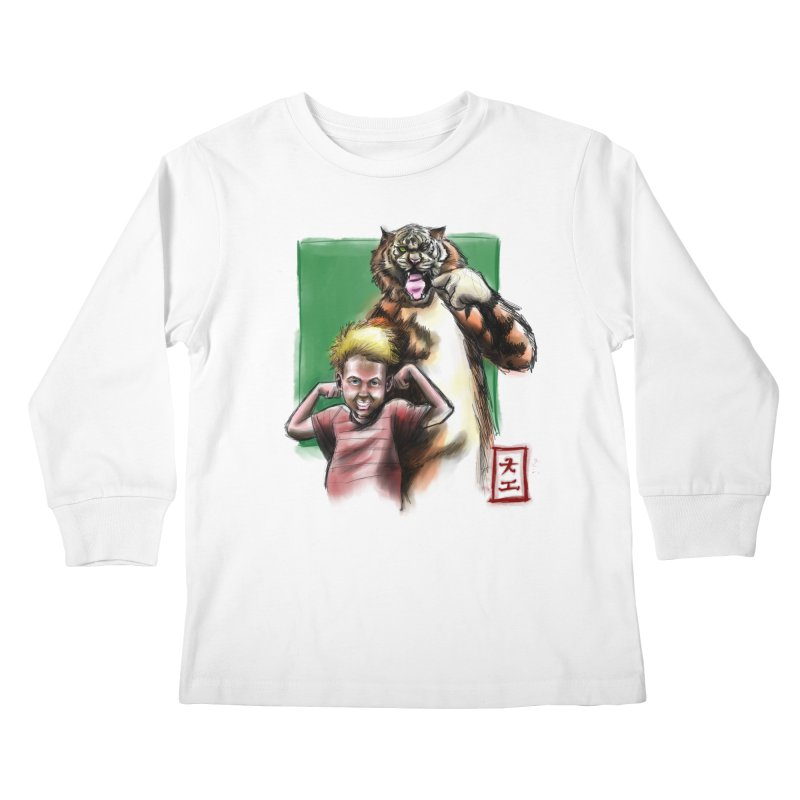 A boy and his tiger Kids Longsleeve T-Shirt by jeffcarpenter's Artist Shop