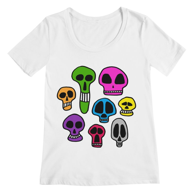 Color Skulls Women's Regular Scoop Neck by jeffisawesome's Artist Shop