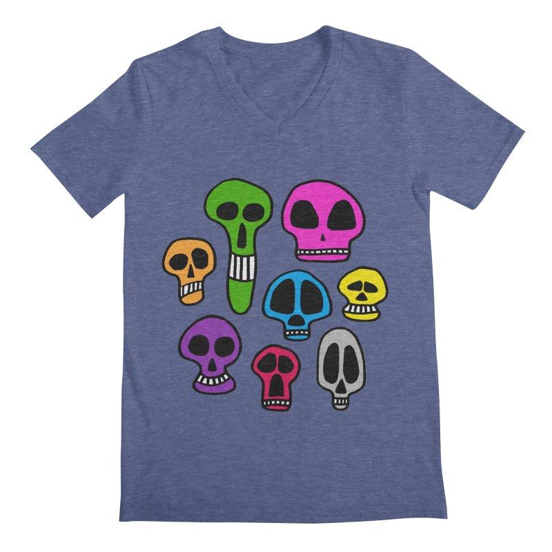 Color Skulls Men's V-Neck by jeffisawesome's Artist Shop