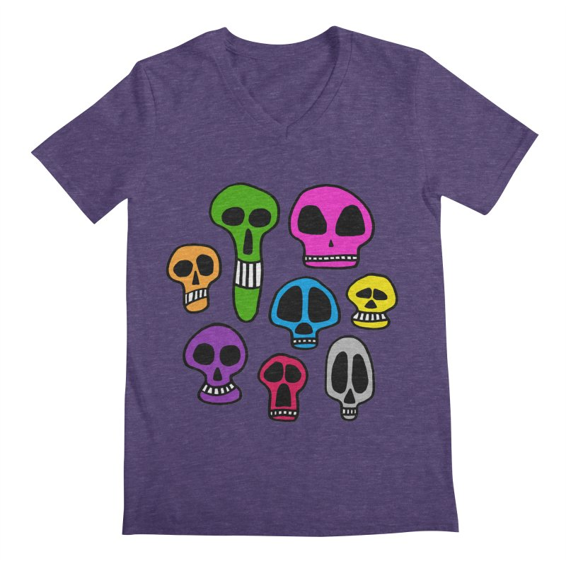 Color Skulls Men's Regular V-Neck by jeffisawesome's Artist Shop