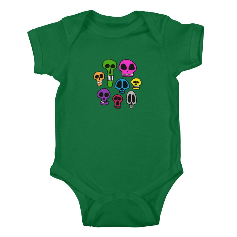 Color Skulls Kids Baby Bodysuit by jeffisawesome's Artist Shop