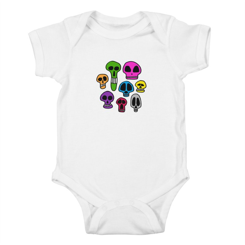 Color Skulls Kids Baby Bodysuit by jeffisawesome's Artist Shop