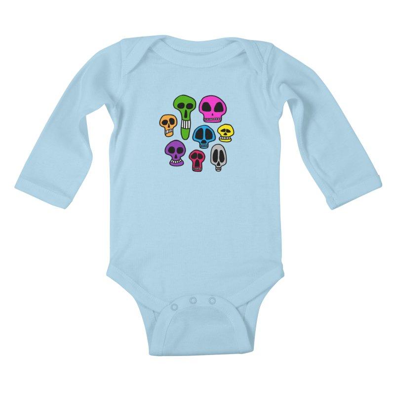 Color Skulls Kids Baby Longsleeve Bodysuit by jeffisawesome's Artist Shop