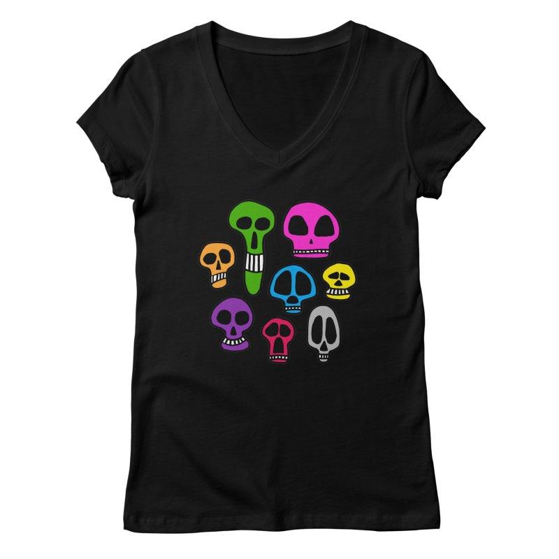 Color Skulls Women's V-Neck by jeffisawesome's Artist Shop