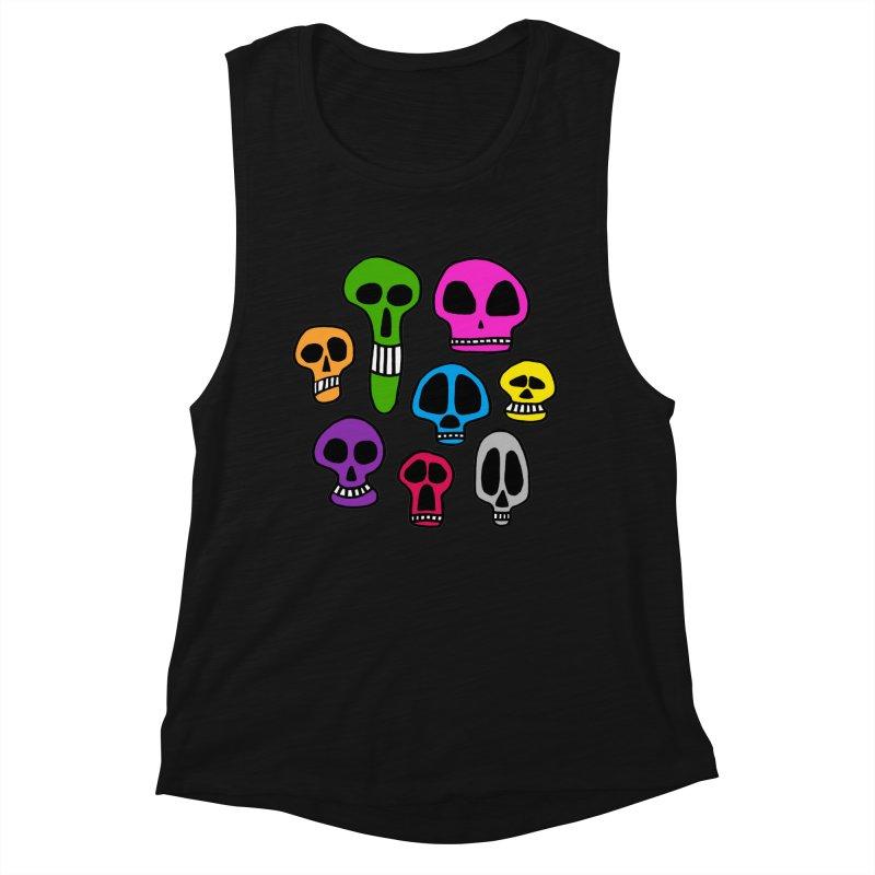 Color Skulls Women's Muscle Tank by jeffisawesome's Artist Shop
