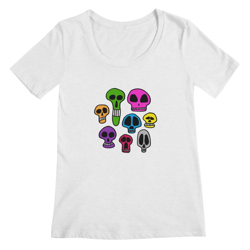 Color Skulls Women's Scoop Neck by jeffisawesome's Artist Shop
