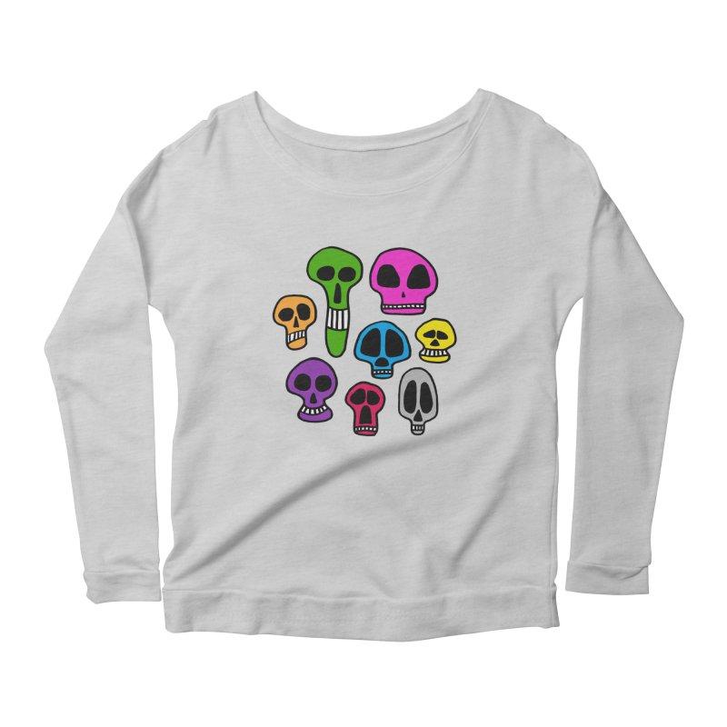 Color Skulls Women's Scoop Neck Longsleeve T-Shirt by jeffisawesome's Artist Shop