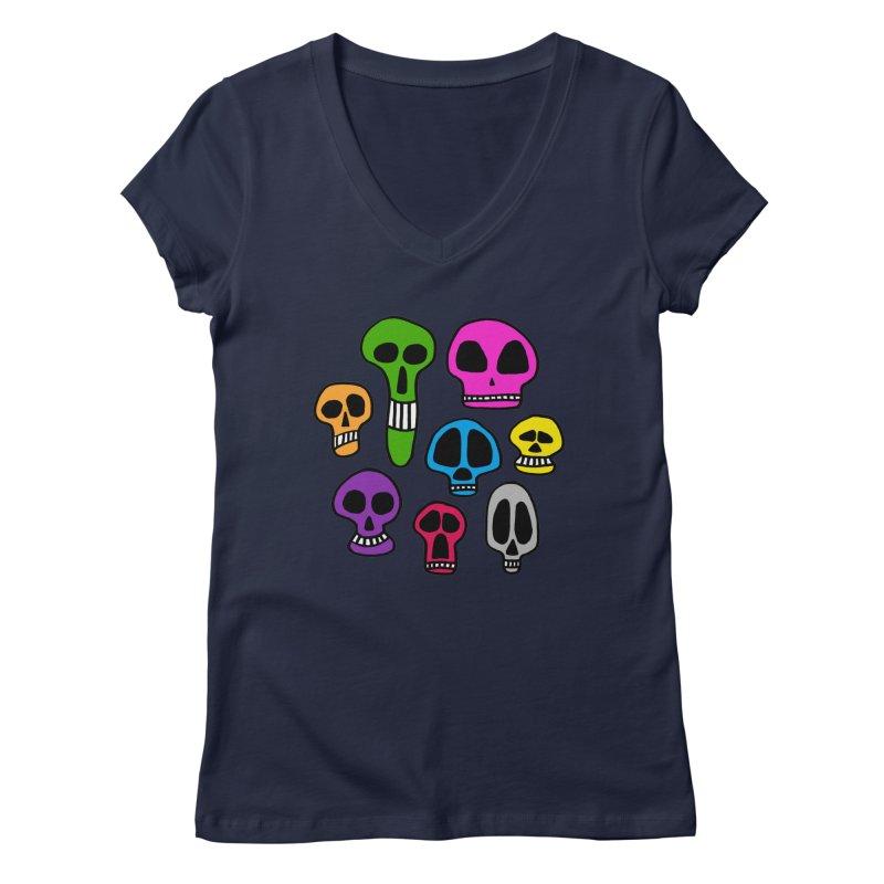 Color Skulls Women's Regular V-Neck by jeffisawesome's Artist Shop
