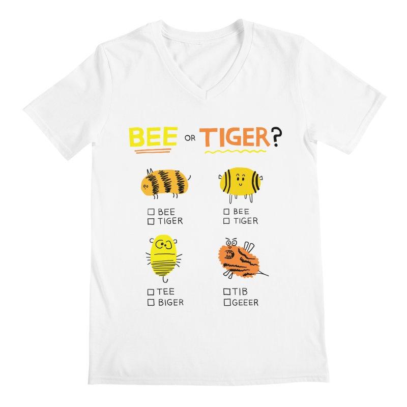Bee or Tiger? Men's V-Neck by jeffisawesome's Artist Shop