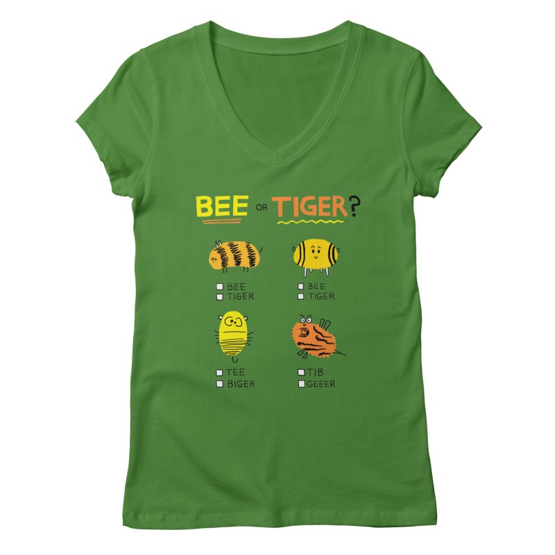 Bee or Tiger? Women's Regular V-Neck by jeffisawesome's Artist Shop