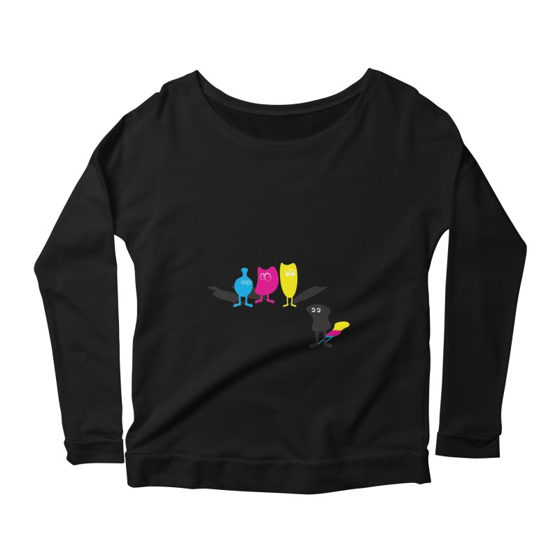 CMY...what? Women's Longsleeve Scoopneck  by jefo's Artist Shop