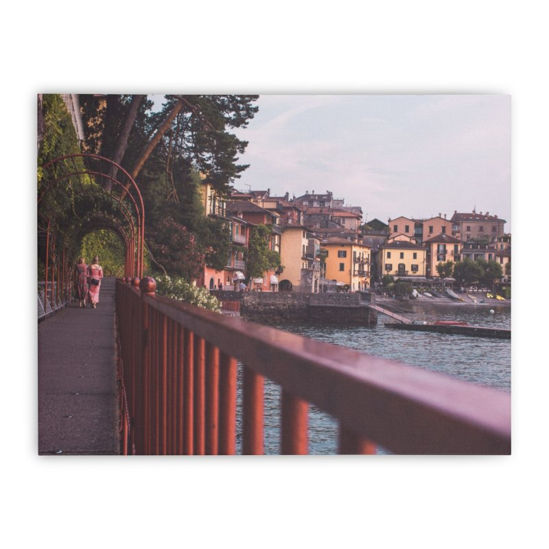 Strolling Along Lake Como Home Stretched Canvas by Jelly Designs