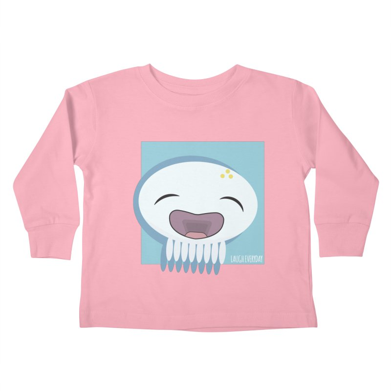 Laugh Everyday in Kids Toddler Longsleeve T-Shirt Light Pink by Jellywishes