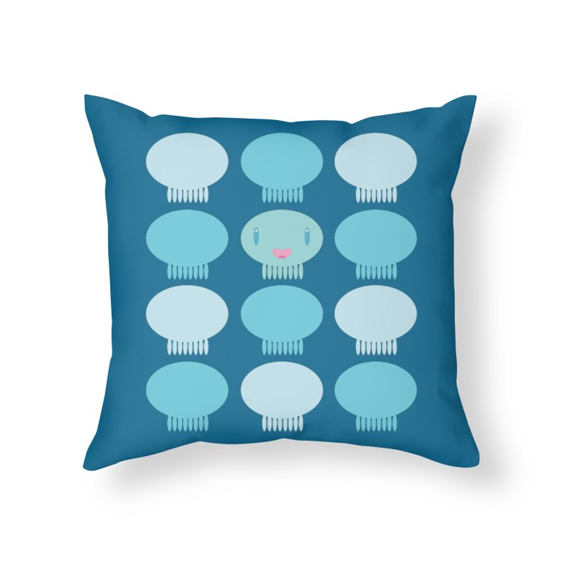 Blue Pattern Jellywish Home Throw Pillow by Jellywishes