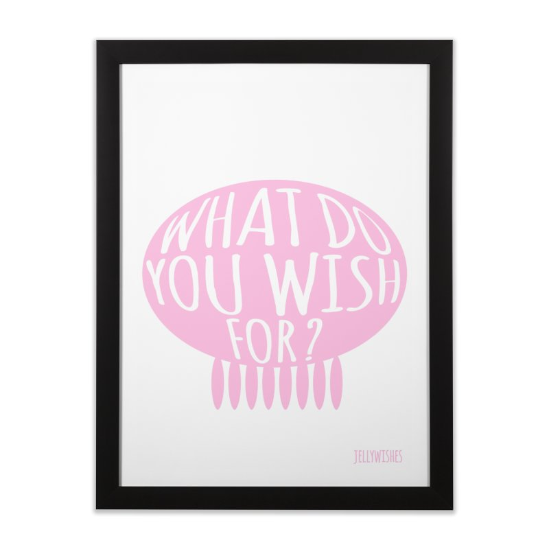 What do you wish for? - pink in Framed Fine Art Print Black by Jellywishes