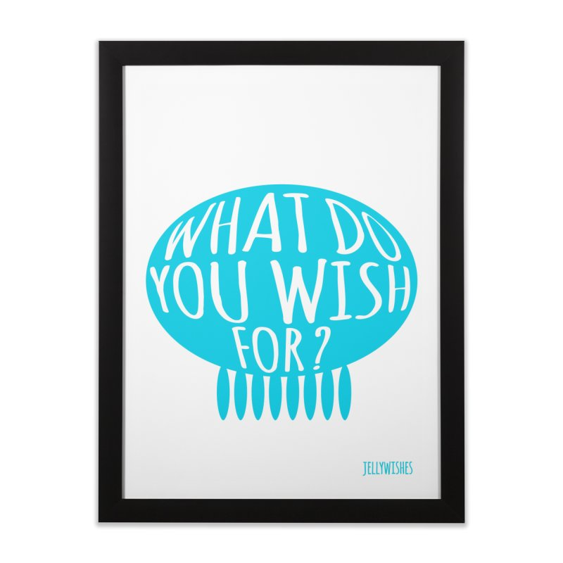 What do you wish for? - blue in Framed Fine Art Print Black by Jellywishes