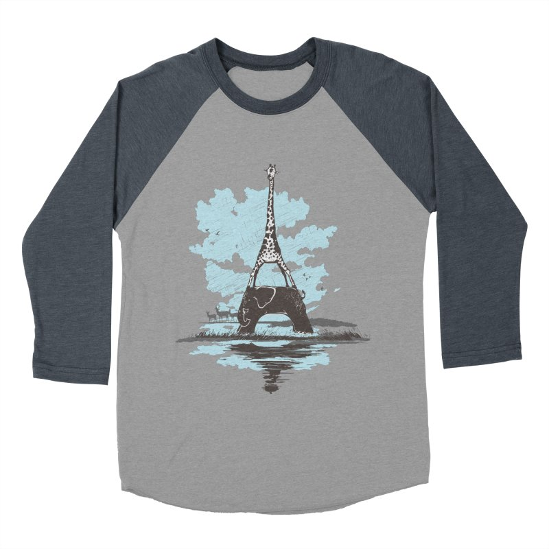 From Paris to Africa Men's Baseball Triblend T-Shirt by Jemae's Design