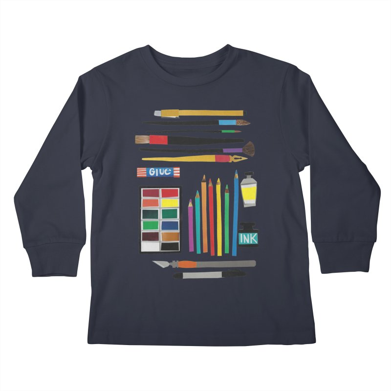 Art Supplies Kids Longsleeve T-Shirt by Jen.B.Love Artist Shop