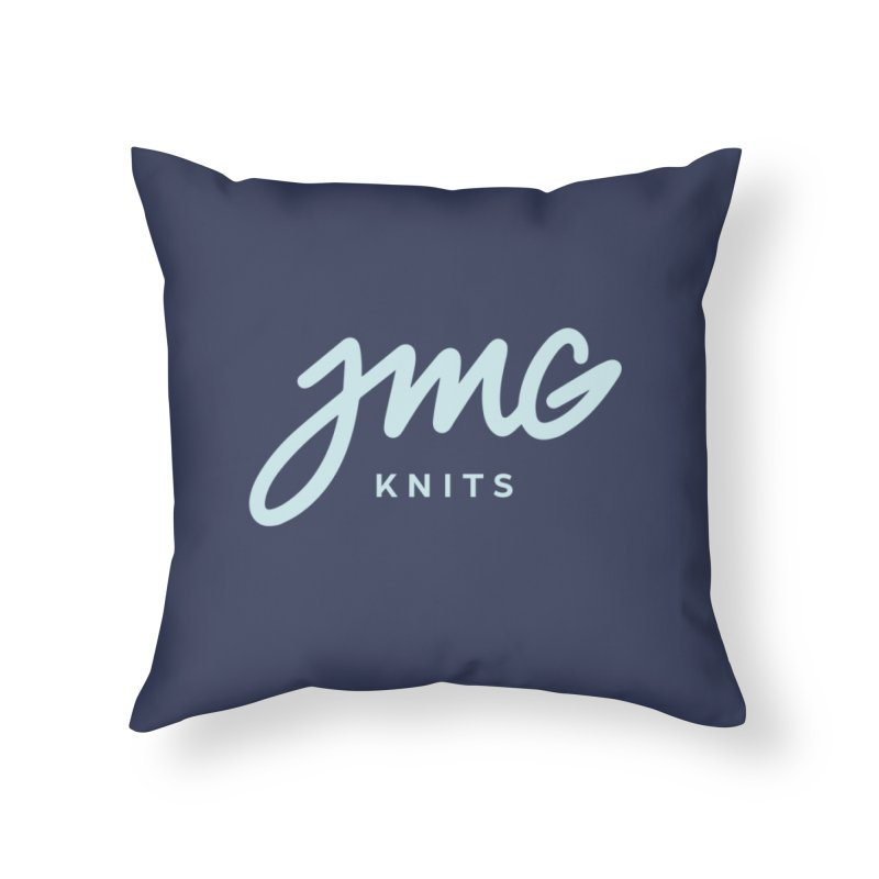 JMG Knits Logo Tee Home Throw Pillow by Jen Marquez Ginn's Shop