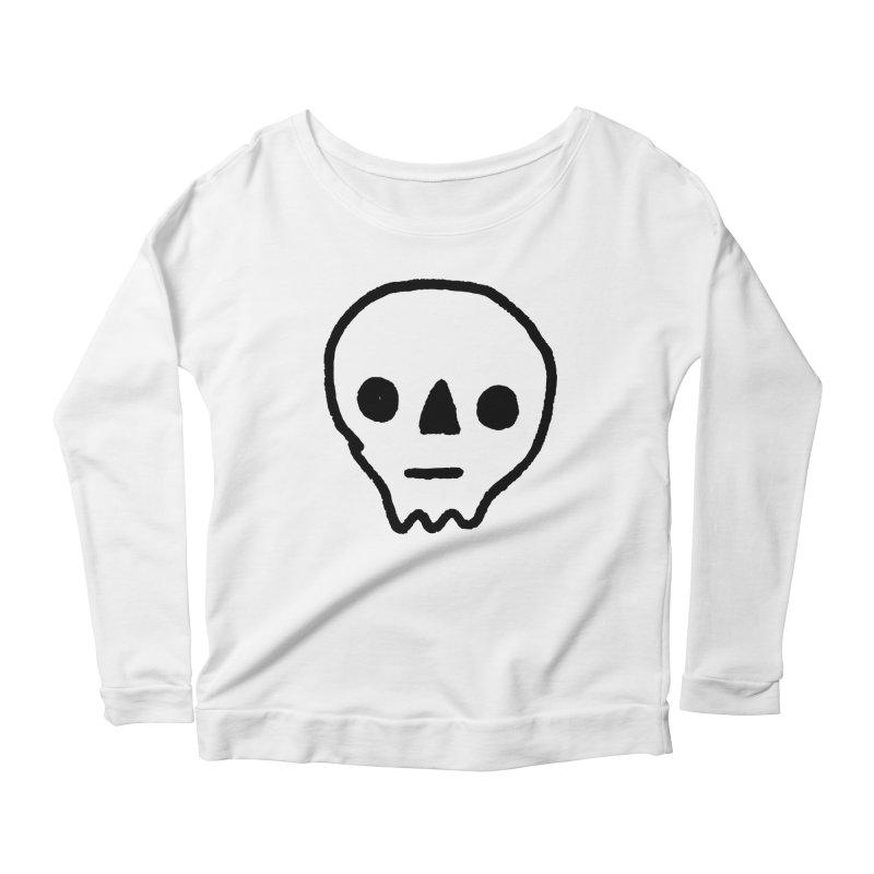 Skull Women's Longsleeve Scoopneck  by jenmussari's Artist Shop