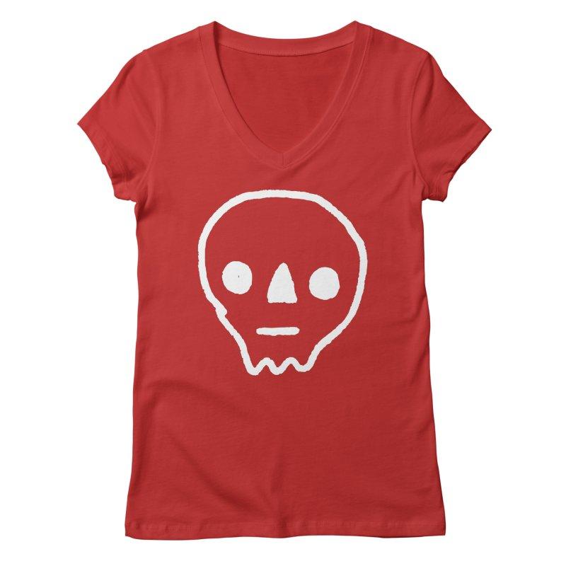 Skull Women's V-Neck by jenmussari's Artist Shop