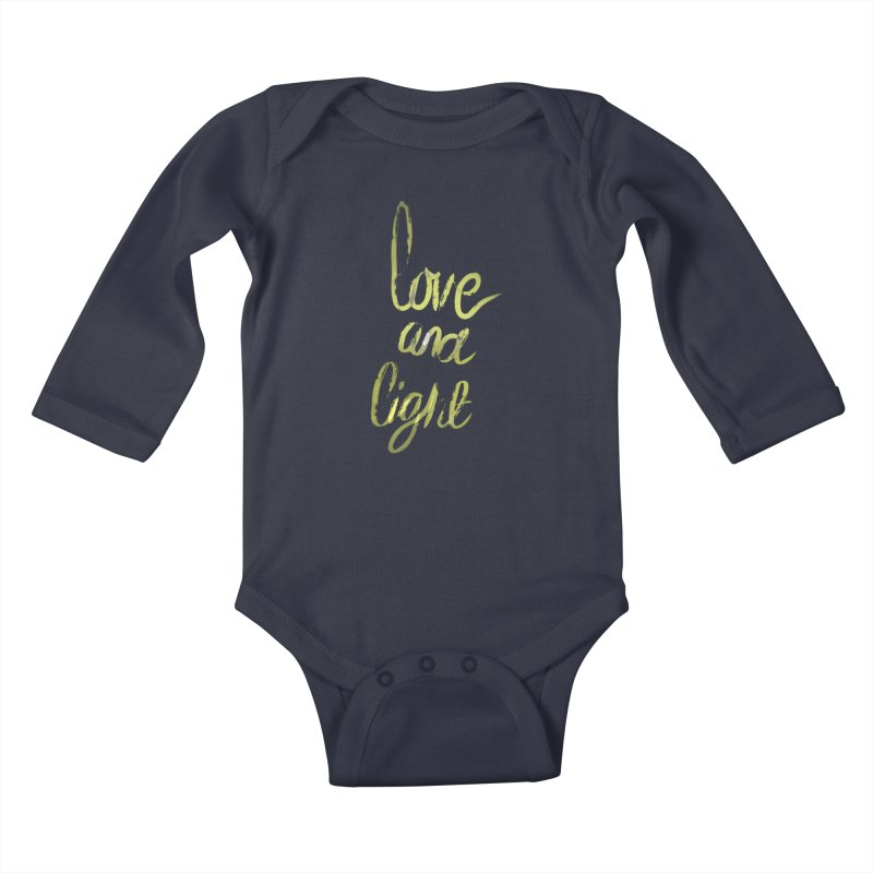 love and light Kids Baby Longsleeve Bodysuit by Jenna YoNa Bloom's Artist Shop