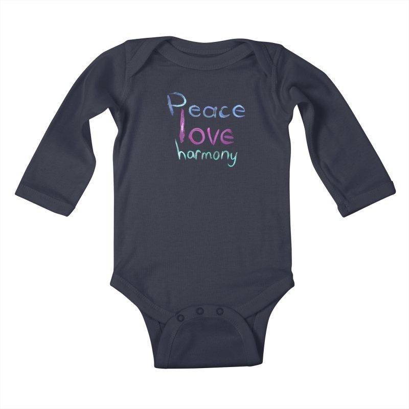 Peace, Love, Harmony Kids Baby Longsleeve Bodysuit by Jenna YoNa Bloom's Artist Shop