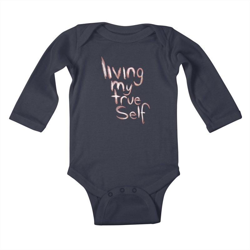 Living my true self Kids Baby Longsleeve Bodysuit by Jenna YoNa Bloom's Artist Shop