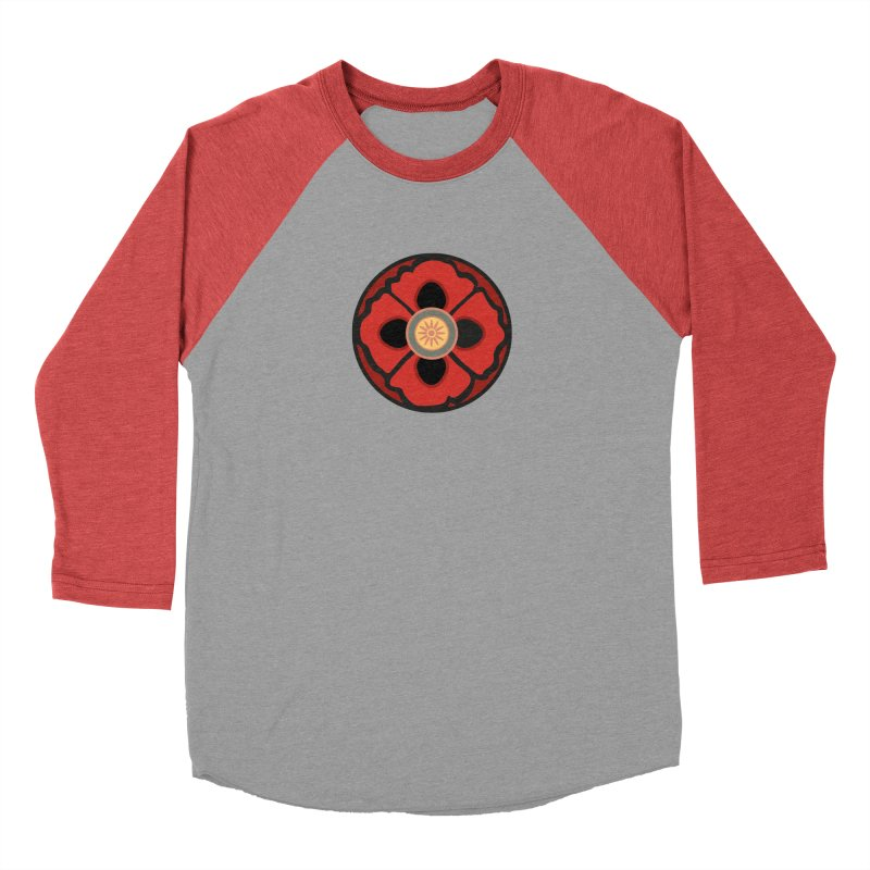 Iconic Poppy in Women's Baseball Triblend T-Shirt Chili Red Sleeves by Supersticery Shop