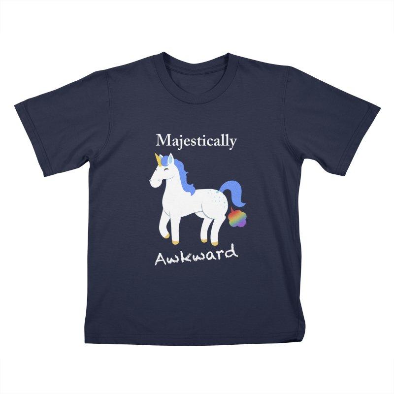 Majestically Awkward Unicorn Kids T-Shirt by Jenny Danko's Artist Shop