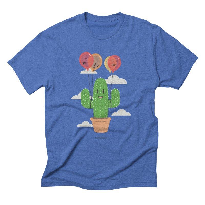 Cactus Hot Air Balloon Men's Triblend T-Shirt by Jenny Danko's Artist Shop