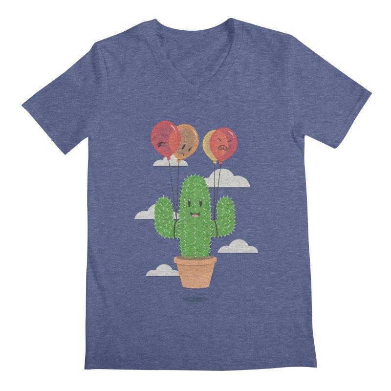 Cactus Hot Air Balloon Men's Regular V-Neck by Jenny Danko's Artist Shop