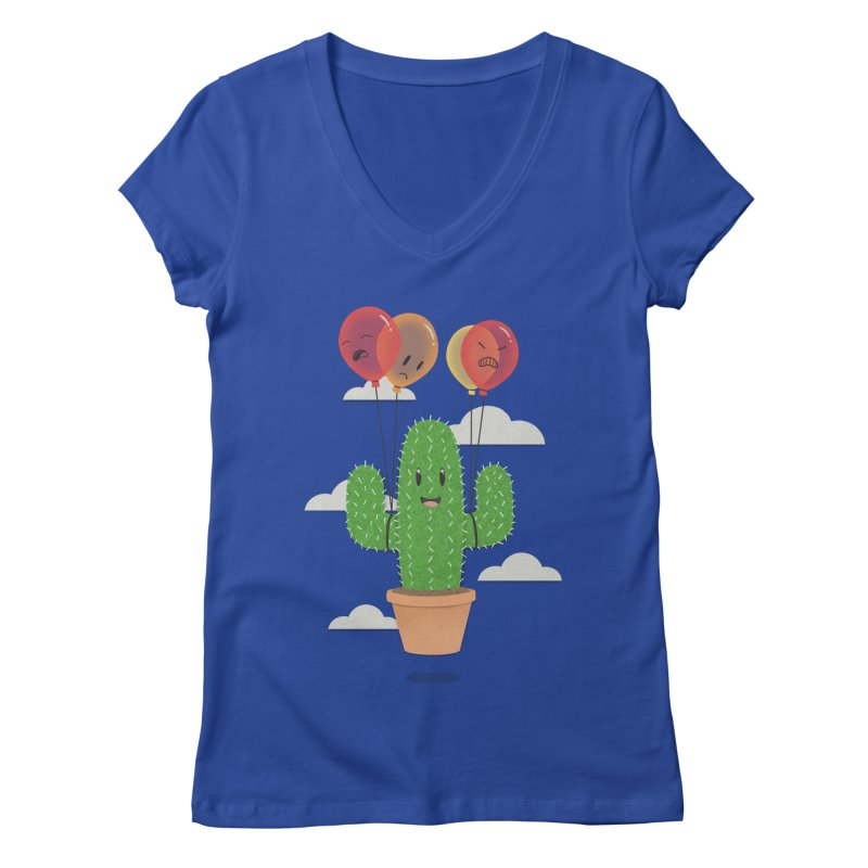 Cactus Hot Air Balloon Women's Regular V-Neck by Jenny Danko's Artist Shop